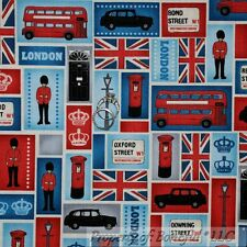 BonEful Fabric FQ Cotton Quilt Block London UK Flag British Cab Car Soldier Bus