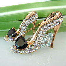 Heart-shaped Black Zircon Shoes 18K GP Swarovski Crystal Pin Brooch 7773