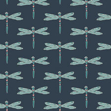 Art Gallery ~ Nightfall Nox Irridescense Dim Fabric / dressmaking blue dragonfly