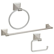 Satin Nickel 3 Piece Bath Accessories Hardware Towel Bar, Paper Holder Set