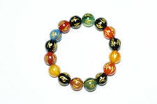 BUDDHIST BRACELET CHAKRA BEADS MANTRA CARVED GOLD STRETCHY HAND MALABEADS