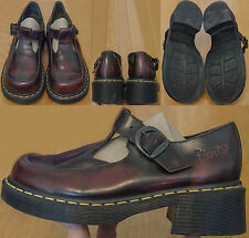 Dr Martens Polley T-Strap Mary Jane US 7 UK5 Euro 38 Distressed Burgundy Leather