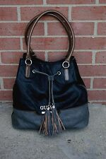 Large Guess shoulder bag hobo tote purse black / gray /Brown faux leather