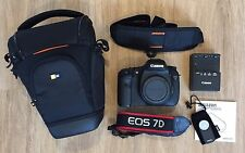 Canon EOS 7D 18MP DSLR Camera Body, Case Logic Bag, Wireless Remote, EXCELLENT