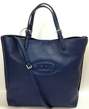 BNWT Tod's Logo Shopping Media Tote Bag Blue Leather RRP £575