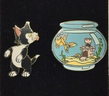 Disney RARE Pin #1636 Figaro Cat Kissing Cleo In Fishbowl Pinocchio Adorable