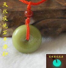 Natural Fluorite Luminous Stone Round Safety Buckle Lucky Pendant Rope Necklace