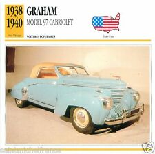 GRAHAM MODEL 97 CABRIOLET 1938 1940 CAR VOITURE USA ETATS-UNIS CARTE CARD FICHE