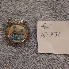 Estate Sale Find Silver Tone Mother Wreath Brooch With Blue Flowers And Crystals