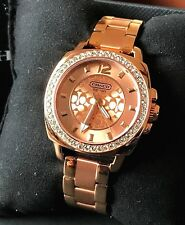 COACH 14501701 Women's Rose Gold Tone Bracelet Crystal Dial Boyfriend Watch NWT
