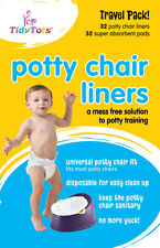 TidyTots Disposable Potty Chair Liners - Travel Pack XL 32 Liners and 32 Pads