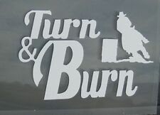"Country,Horses Barrel Racing Vinyl Decal ""Turn & Burn"" Vehicles /Laptop/Wall"