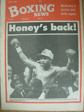 BOXING NEWS APRIL 1 1988 LLOYD HONEYGHAN DEFEATS JORGE VACA FOR WORLD TITLE