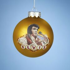 Elvis Presley Holding Microphone Gold Glass Ball Christmas Ornament