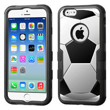 3-Layer Hybrid Case (Blk/Blk/TF) for Apple iPhone 6 / 6s - Soccer Design