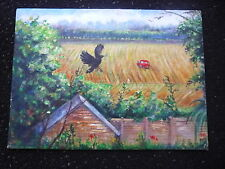 Original Colourful Cottage Farm Oil Painting on Canvas Board - No Frame