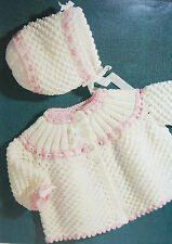 Baby's Matinee Coat/Jacket and Bonnet Knitting Pattern