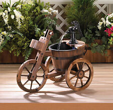 TRICYCLE Outdoor Garden Patio Water Pump Wood & Iron FOUNTAIN SLC 10017254