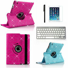 360 Rotating Bling Leather Case Cover+Bluetooth Keyboard for Apple ipad mini 2/3