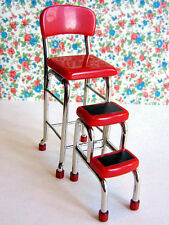 Dollhouse Miniature Retro Red Kitchen Chair with Step Stool
