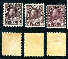 3 Shades of Mint Canada 10 Cent KGV Admiral Stamps #116vars (Lot #8215)