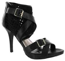 NEW ANNE MICHELLE BLACK ROMAN DESIGN GLADIATOR HIGH HEEL SANDALS. SIZE 5