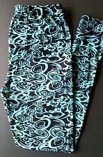 EXTRA PLUS Size Buttery Soft Aqua Swirl Leggings Curvy Plus Size