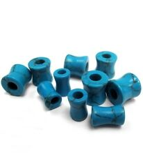 PAIR-Stone Turquoise Double Flare Tunnels 05mm/4 Gauge Body Jewelry