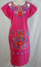 XLarge Fushsia Mexican Peasant Colorful Floral Embroidered Cotton Tunic Dress