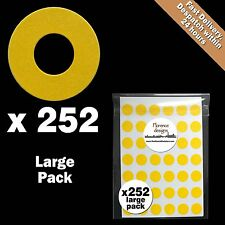 252 x Yellow hang tag ring/round/hole punched reinforcement stickers/labels