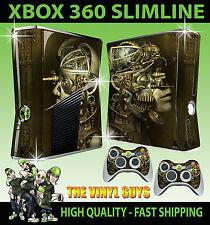 XBOX 360 SLIM Steampunk ROBOT TESCHI Vittoriano INGRANAGGI ADESIVO SKIN e 2 SKIN PER PAD