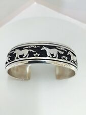 Native American Sterling Silver Navajo Horse Cuff  *Tommy Singer*