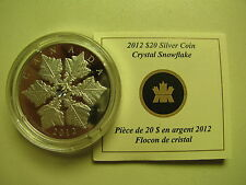 2012 Proof $20 Crystal Snowflake #14-Winter Canada .9999 silver COIN&COA ONLY tw