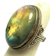 STERLING SILVER NATURAL MOONSTONE RING LARGE STONE SIZE 5.25   13.6 GRAMS