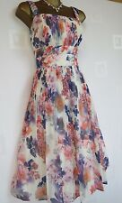 ~ EXQUISITE MONSOON MADELINE OCCASION DRESS SIZE 12 IVORY PURPLE CHIFFON VGC ~