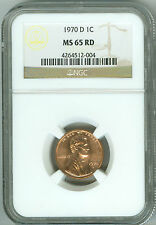 00002D0D 1970 D Ngc Ms65 Rd Lincoln Cent 1c, Tough Date, Rare!