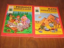 2 Gifted & Talented Workbooks for Ages 4-6 PHONICS & MATH Puzzles & Games