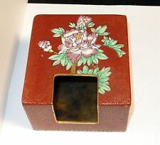 RARE CLOISONNE RED ENAMEL TISSUE BOX