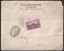 AUSTRIA US JADAICA 1920 SIEGMUND POPPER COVER FRANKED 4kr VIENNA TO NY