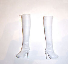 Barbie Size Whit Faux Leather Knee High Boots For Model Muse Barbie Dolls sh375