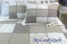 Cream Khaki Olive Green Patchwork Ruffle BEDSPREAD Quilt 3pc Set QUEEN-New