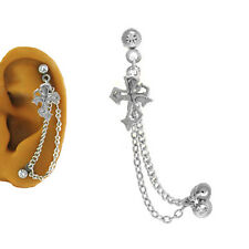 316L SS Ear Cartilage Piercing Earring Ring Chain Cross