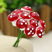Miniatures Red Foam Mushrooms Fairy Doll House Decorating Ornament Craft Supply