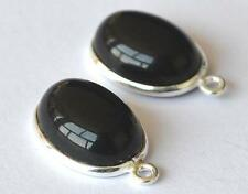 SOLID 925 STERLING SILVER CONNECTORS - BLACK ONYX OVAL 10X14 MM 1 PAIR #2677