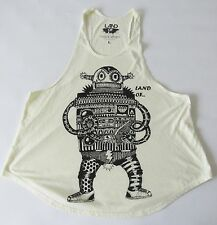 Land of Apparel Women's Loose Fit Tank Top Retro Analog Cassette Robot LG