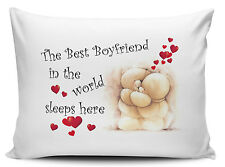 The Best Boyfriend In The World Sleeps Here Pillow Cases - Cute Bear - Brand New