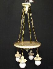 Vintage Brass 4 Light 4 Chain Drop Ceiling Fixture With Matching Canopy