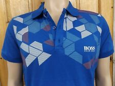 "MEN`S ex-HUGO BOSS POLO SHIRT SIZE XL 44"" CASUAL DESIGNER BLUE TOP NWOT"