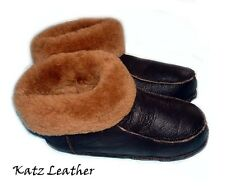 NEW! Men's Brown Soft Sheepskin Lambskin Fur Slippers KATZ Leather Warm Size 12