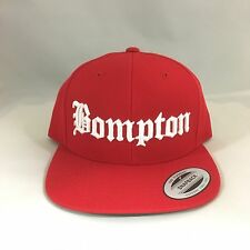 Bompton Classic Snapback Hat 3D Embroidered Adjustable Cap Yupoong Red